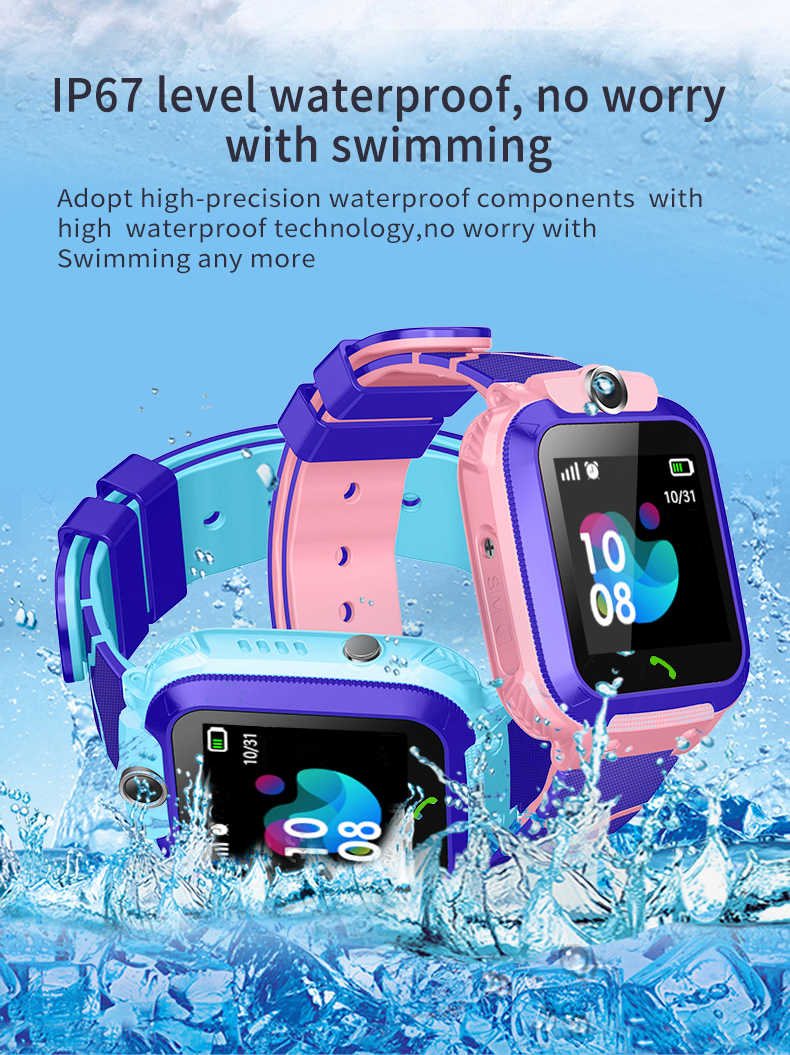 Smart Watch Kids IP67 Waterproof Sport GPS Smart Clock Android Children SOS Call Smartwatch with Camera SIM Card HD Touch