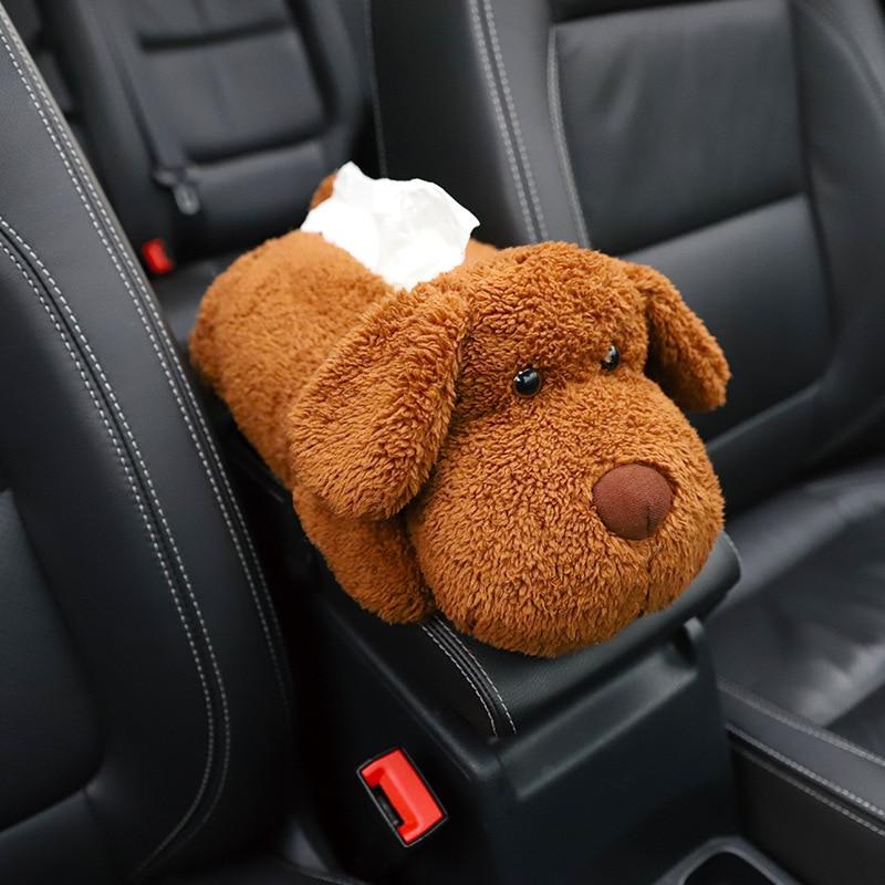 Creative Car Armrest Box Cartoon Tissue Box Multifunctional Husky Brown Bear Cute Plush Animal Doll Car Fashion Tissue Bag