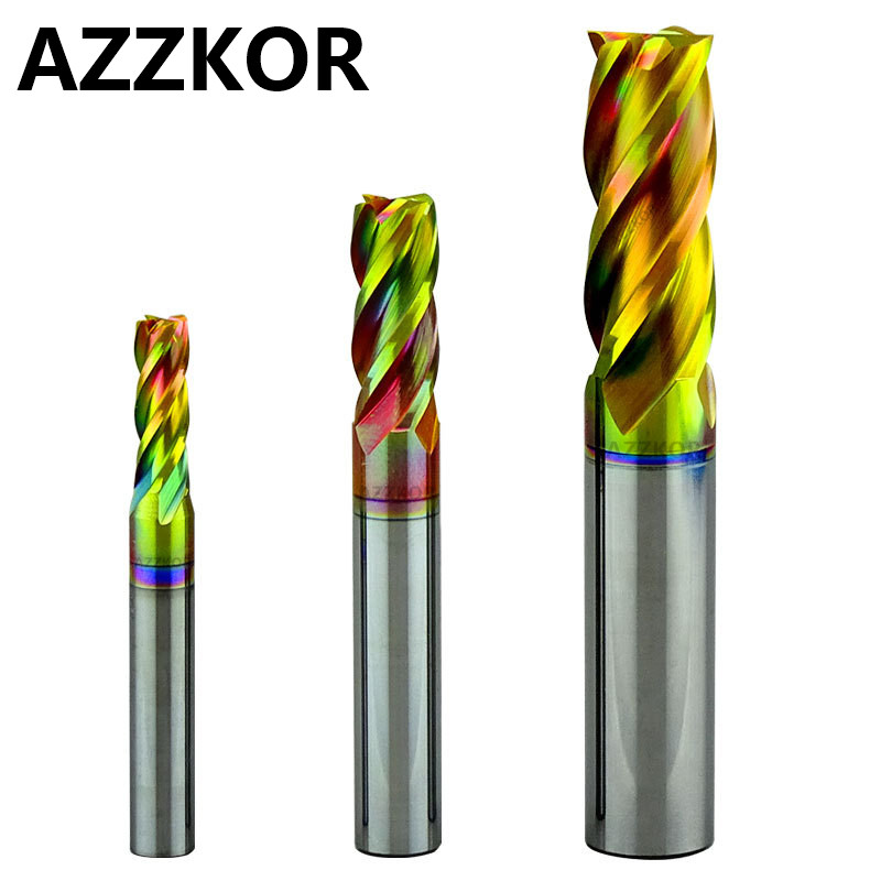Milling Cutter Cutting Stainless Steel Alloy Coating Tungsten Steel Tool Cnc Maching Hrc80 Endmill Azzkor Top Kit Milling Tools
