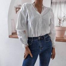 Белая универсальная рубашка однобортная с кружевными краями