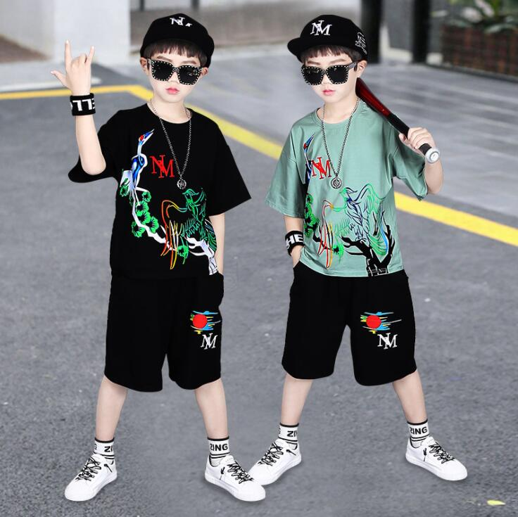 Boys Casual Clothes Kid Boy Clothing Set Summer Children Short sleeve Letters T-shirt + Pants 3 4 5 6 7 8 9 10 11 12 13 15 Years image