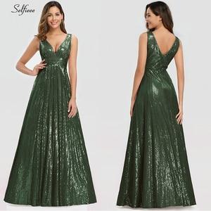 Image 2 - האופנה Sparkle נשים שמלת אונליין כפול V צוואר שרוולים נצנצים ערב המפלגה שמלת גבירותיי זהב מקסי שמלת לנגה Jurken
