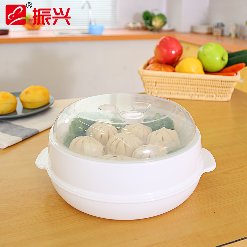 Europe Style Plastic Single-Layer Microwave Oven Steamer Plastic Round Steamer Microwave Steamer With Lid Cooking Tool