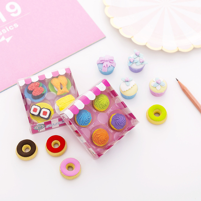 Kawaii Cute Cartoon Donut Cakes Sushi Rubber Student Stationery Gifts Children's Holiday Small Prizes Office Supplies Style Rand