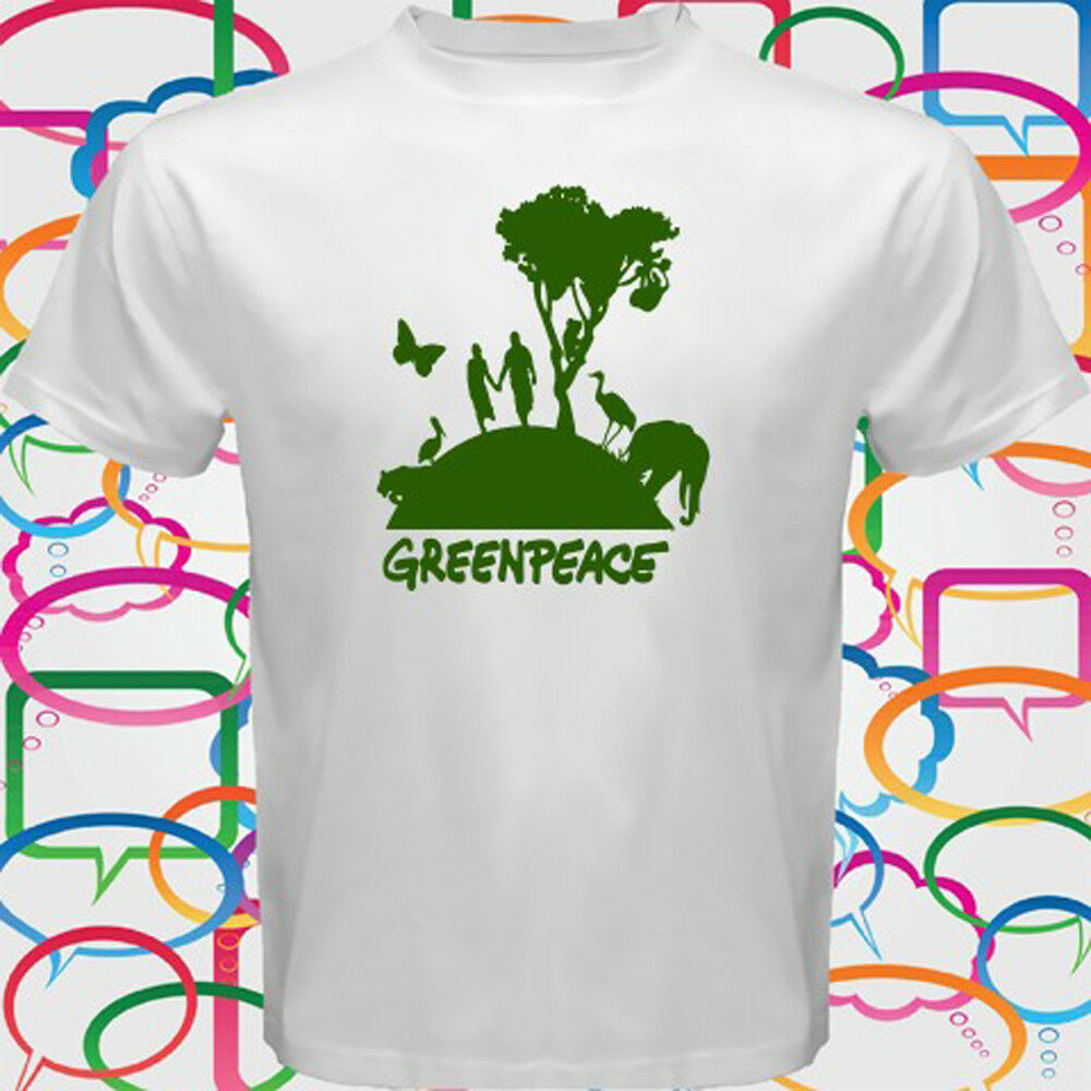 Greenpeace Go Green Organization Symbol Logo Mens White T Shirt Size S To 3Xl