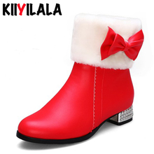Kiiyilal New Zipper Snow Boots Butterfly-knot Round Toe Fur Winter Shoes Woman Crystal Square Heels Short Plush Warm Women Boots fedonas new warm autumn winter snow shoes woman high heels zipper short martin boots retro punk motorcycle boots 2019 new shoes