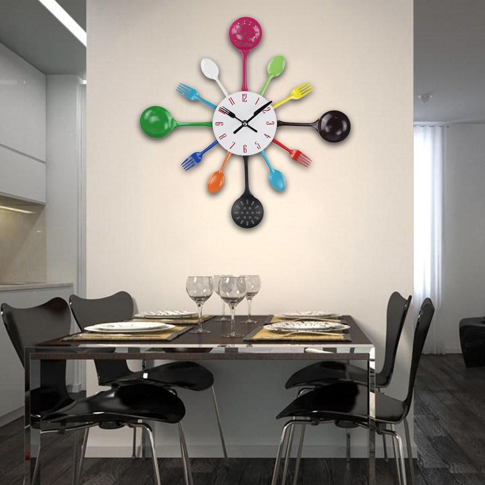 Cutlery Metal Kitchen Wall Clock Spoon Fork Quartz Wall Mounted Slient Clocks Modern Design Horloge Murale 2019 New Arrivals|horloge murale|fashion wall clockswall clock - AliExpress
