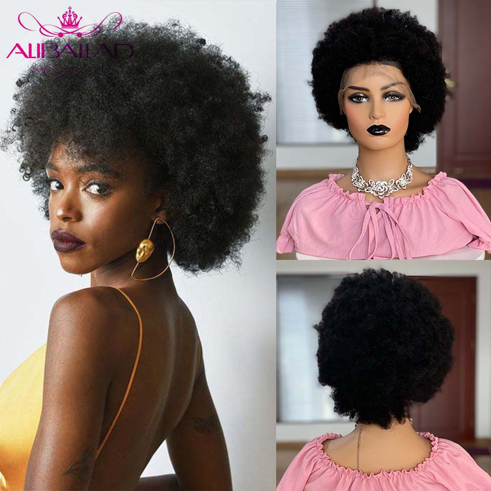 13X4 Afro Kinky Curly Lace Front Human Hair Wigs Pre-Plucked Remy Hair Afro Puff Short Bob Kinky Curly Wig For Black Women 150%