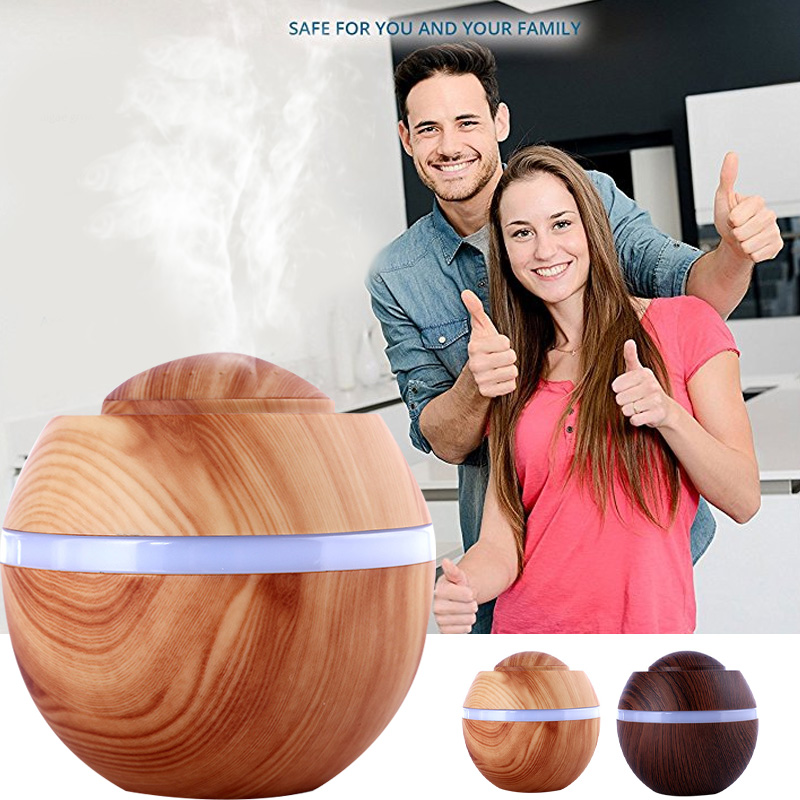 Filter Diffuser Aroma Diffuser Humidifier Aromatherapy Fashion Creative Wood Grain 500ML LED Mist Maker Colorful Light