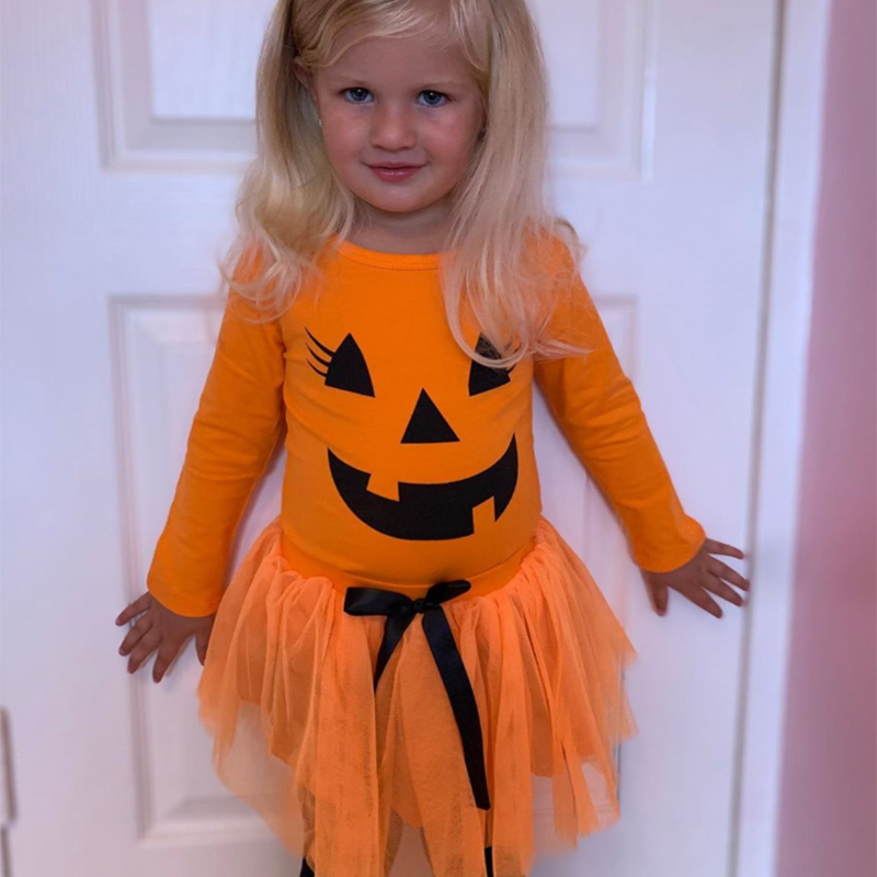 2-6Y Newly Halloween Toddler Baby Kid Pumpkin scary face Print long sleeve top tutu mesh skirt Clothing 2PCS Costumes Outfit H55