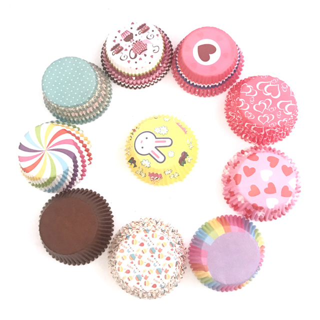 2019New 100 PCS/Set Rainbow Color Muffin Cupcake Paper Cups Cake Forms Cupcake Cake Mold Cup Cake Paper Decorating Tools TSLM2