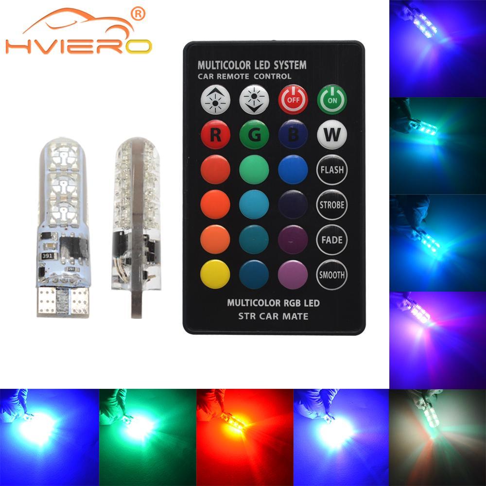2X T10 SilicaGel RGB W5w светодиодный пульт дистанционного управления RGBW 501 194 168 6SMD 5050 Festoon купольный светильник автомобильный клиновидный боковой светодиодный DC 12V автомобильные лампы