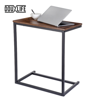 Douxlife Vintage C Shape Coffee Table Wooden Metal Frame Sofa Side Table End Table Home computer Desk Storage Holders Furniture