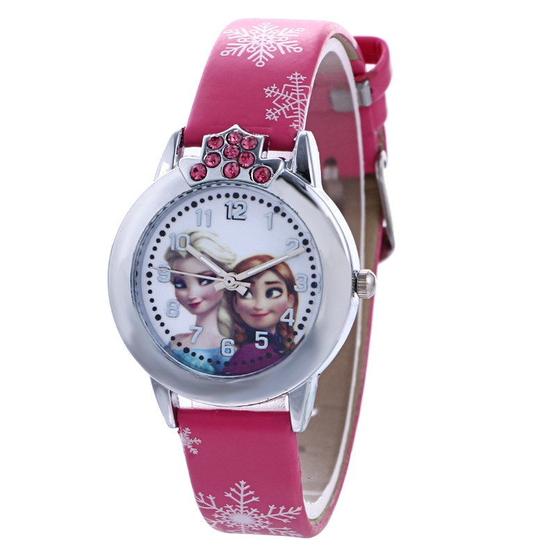 Fashion Brand Cute Kids Quartz Watch Children Girls Leather Crystal Wristwatch Clock 8O4
