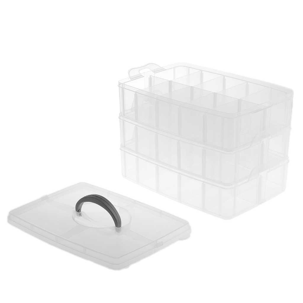 Boite De Rangement En Plastique 30 Emplacements 3 Couches Pour Caisse Organisateur Reglable Rangement Perles Boucles D Oreilles Collier Aliexpress