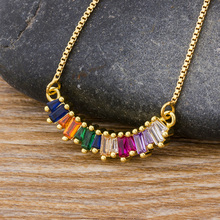 Fashion Gold Color Copper Long Chain CZ Pendant Necklace Micro Pave Rainbow Cubic Zirconia Crystal Jewelry For Women Girls Gift