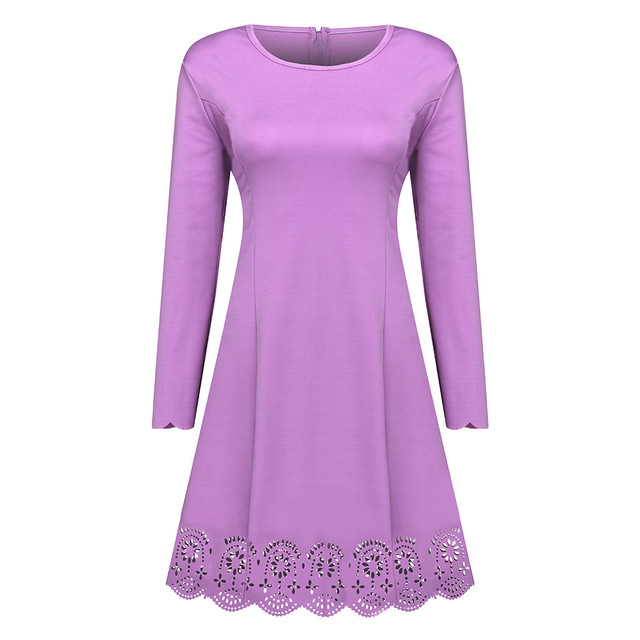 Womail 2019 hiver grande taille femmes robes féminines évider col rond à manches longues Fashional grande taille femmes robe Vestidos ST04