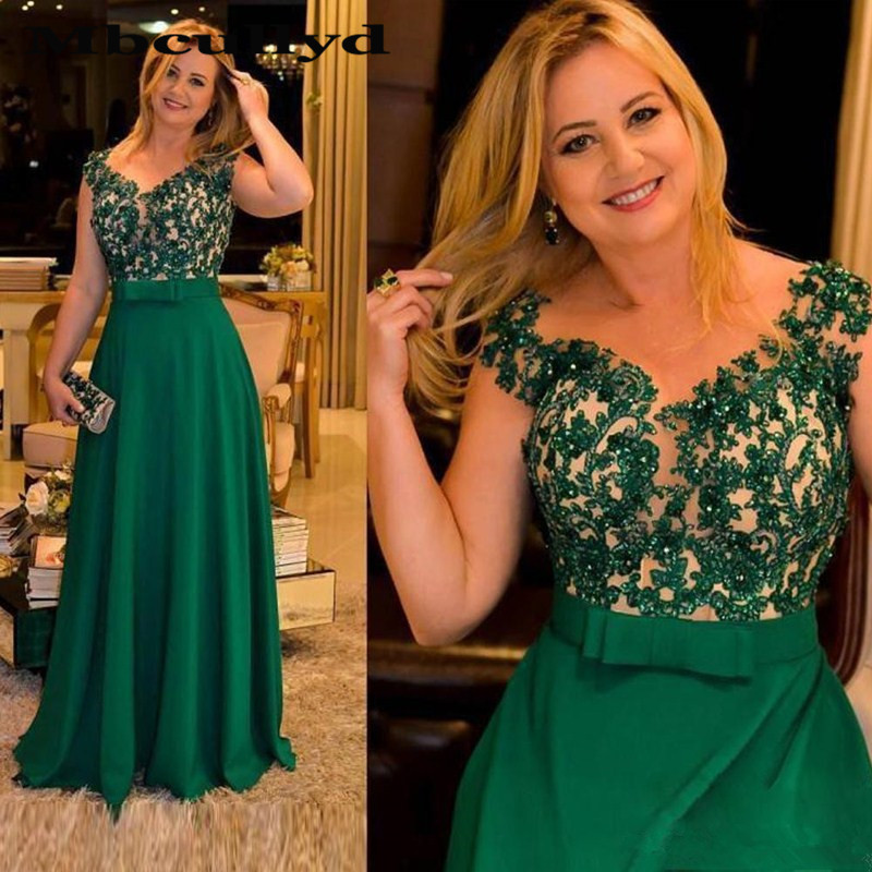 Mbcullyd Crystal Mother Of The Bride Dresses 2020 Long Green Wedding Mother Dress Applique Cheap Formal Pageant Vestido De Festa
