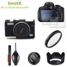 Schutz Kit Kamera fall Screen Protector UV Filter Objektiv haube Kappe Reinigung stift Luft Gebläse für Canon EOS M100 15 45mm objektiv