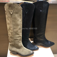 Vinapobo Pointed Toe Genuine suede Leather Knee High Boots Women Chunky High Heel Knight Boots Motorcycle Boots zapatos de mujer
