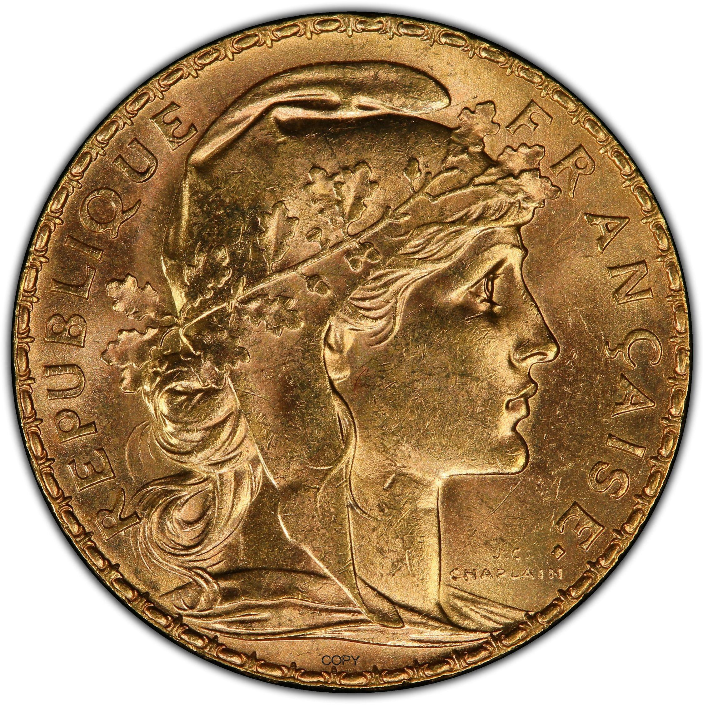 França 20 francos ouro marianne galo latão metal cópia moeda