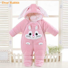 -30 degrees cold Winter warm Baby girl Clothes 2019 New born Style Baby Rompers Baby Boys Jumpsuits cute Cartoon Infant Overalls(China)