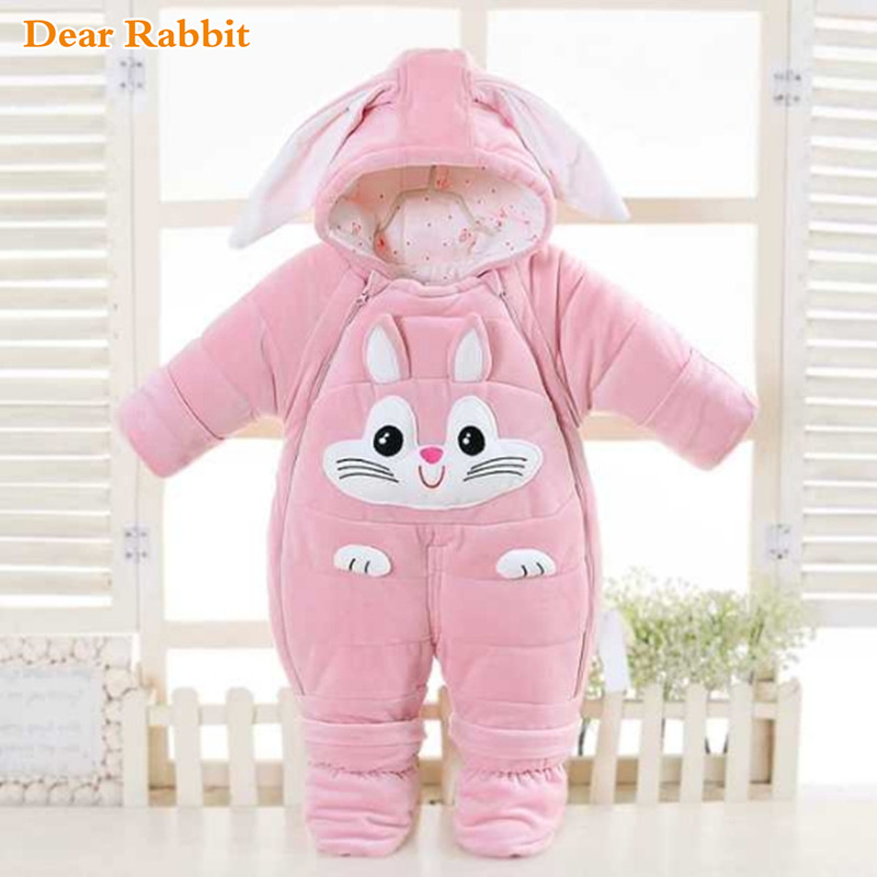 30 degrees cold Winter warm Baby girl Clothes 2019 New born Style Baby Rompers Baby Boys Jumpsuits cute Cartoon Infant Overalls