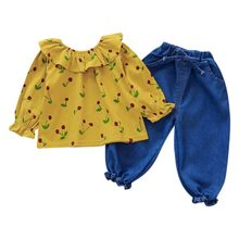 Children Baby Girls Clothes Casual Long Sleeve Cherry Print Blouse Tops Denim Pants Trouser Set(China)