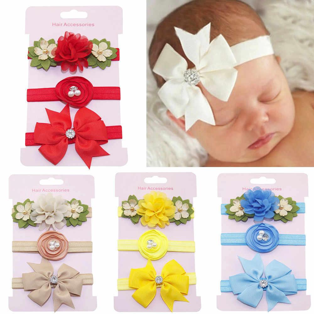 3 teile/los Kinder Elastische Floral Stirnband Perle Haar Mädchen Baby Bowknot Haarband Set Haarschmuck Headwear Nette Baby Kinder Geschenk