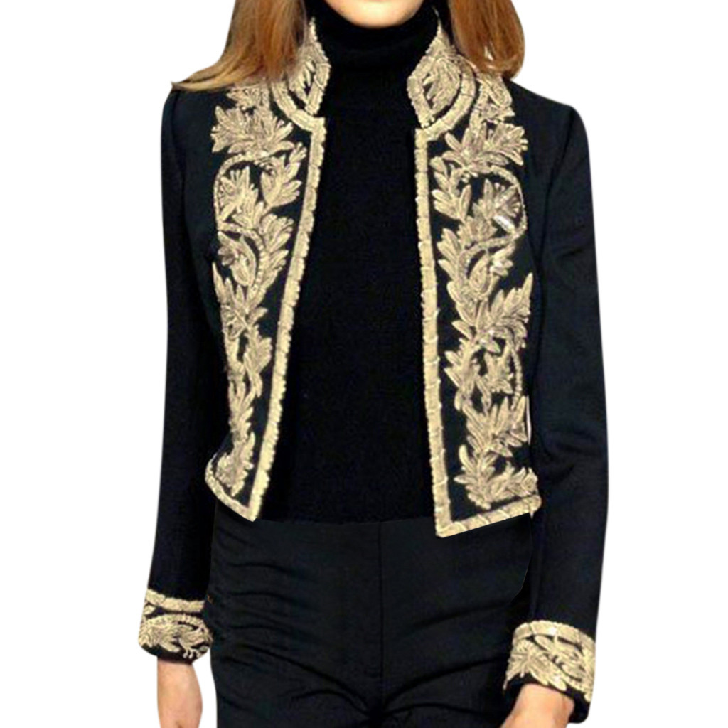 SAGACE  Fashion Cardigan Tops Tee Women Jackets  Open Front Slim Ladies Blazer Streetwear Embroidery Metal