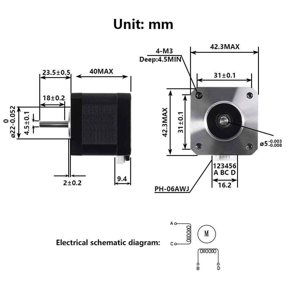 3D Stampante Motori, Nema17 Motore Passo-passo 42BYGH 1.8 Gradi 40 MILLIMETRI 1.5A (17HS4401S) 42N.cm 4-Piombo con 1m Cavo per 3D Stampante CNC