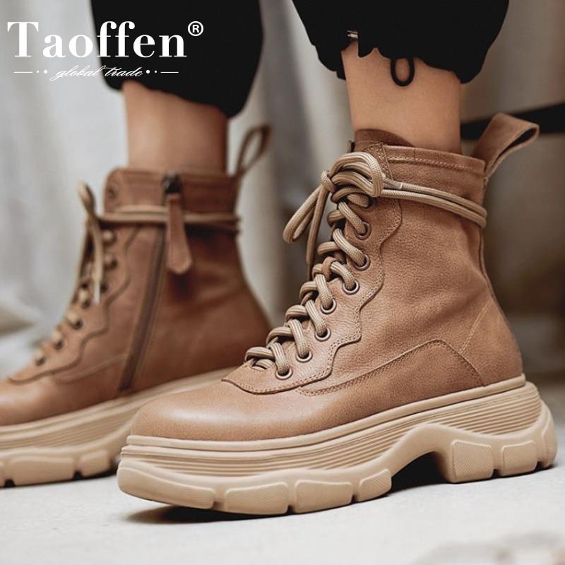 Taoffen/2021; Женские ботинки из натуральной кожи; Зимние ботильоны; Женская модная обувь на молнии; Повседневная обувь на плоской подошве; Размеры 34 42|Полусапожки|   | АлиЭкспресс - Одежда и обувь