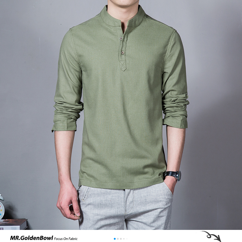 MrGoldenBowl Store Cotton Linen Men Shirts Man Long Sleeve Solid Color Stand Collar Chinese Clothes Male Big Size Casual Shirts