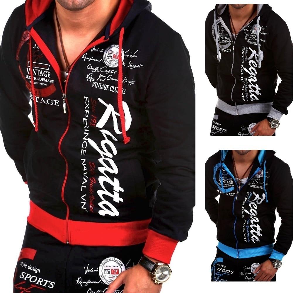 ZOGAA Spring Autumn Men Fashion Track Suit Men Casual Printing 2 Piece Set Male Zipper Slim Sweatsuit Boyfriend Gifts 2019 New