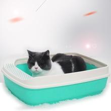 Hot Sell Cat Litter Bowl Anti Splash Box tray Semi-closed Sand Basin Plastic Extra Large Toilette Small Pet Supplies
