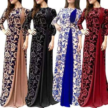Plus Size S-5XL Evening Party Medieval Women Floral Print 3/4 Sleeve Maxi Dress Women Summer Dresses Long Vestidos Elegant Dress women christmas dresses plus size s 5xl long sleeve o neck loose print casual a line dress new year xmas party dress vestidos