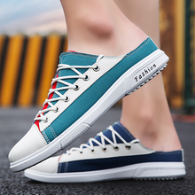 2020 New Summer Men Half Slippers Breathable Canvas Fashion Mens Shoes Sneakers Casual Hombre Sandals Lazy Patchwork Slippers 2020 summer cool rhinestones slippers for male gold black loafers half slippers anti slip men casual shoes flats slippers wolf