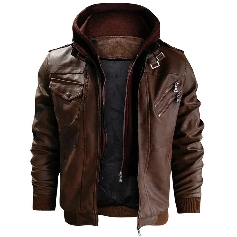 Hommes automne hiver moto en cuir veste coupe-vent à capuche PU vestes vêtements pour hommes chaud Baseball vestes grande taille 3XL - 2