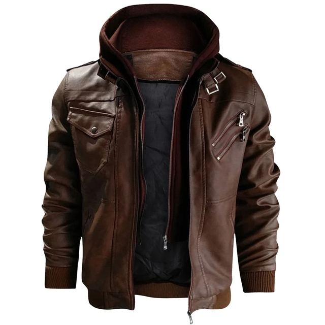 Men's Leather, Hooded  Windbreaker,  Plus Size  Up To 3XL