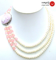 Qingmos Natural 6 7mm Flat Round White Pearl Neckalce for Women with Pink Jades 3 Strands Pearl Chokers Necklace Jewelry 17