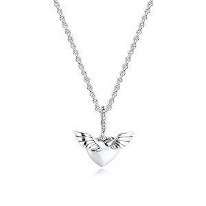 Image 3 - تمهيد الأحجار القلب و أجنحة الملاك الفضة القلائد للنساء موضة أنثى المختنق قلادة 925 فضة مجوهرات سلسلة فتاة