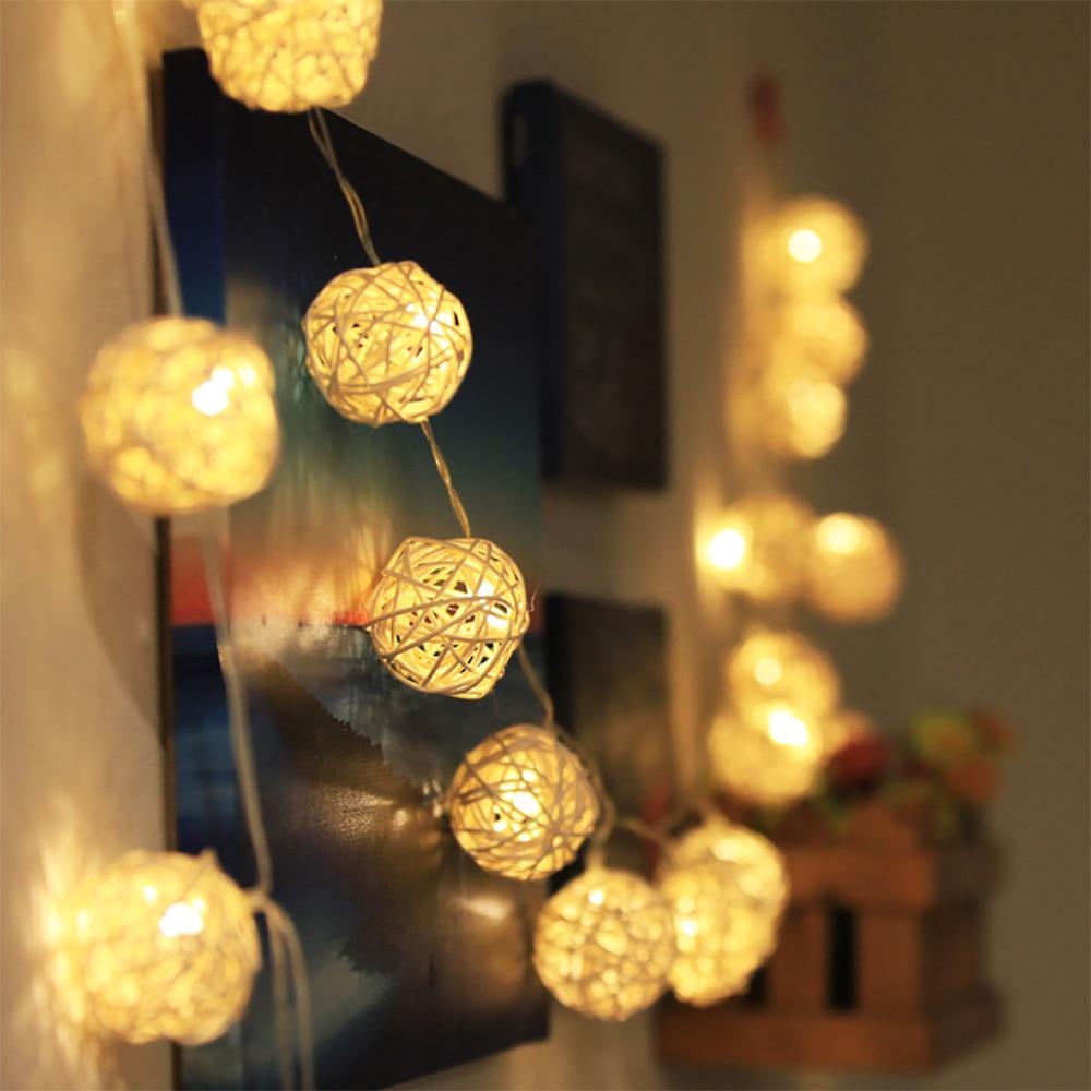 Łańcuchy świetlne LED kula ratanowa girlandy świąteczne dekoracje weselne girlanda żarówkowa LED wróżka świąteczna światło na zewnątrz 1.2 m/2.5 m//5 m