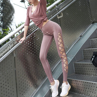 Women's Side Hollow Out Criss Cross Strappy Yoga Leggings High Waist Hips Up Gym Workout Sport Leggins Seamless Dance Pants INS