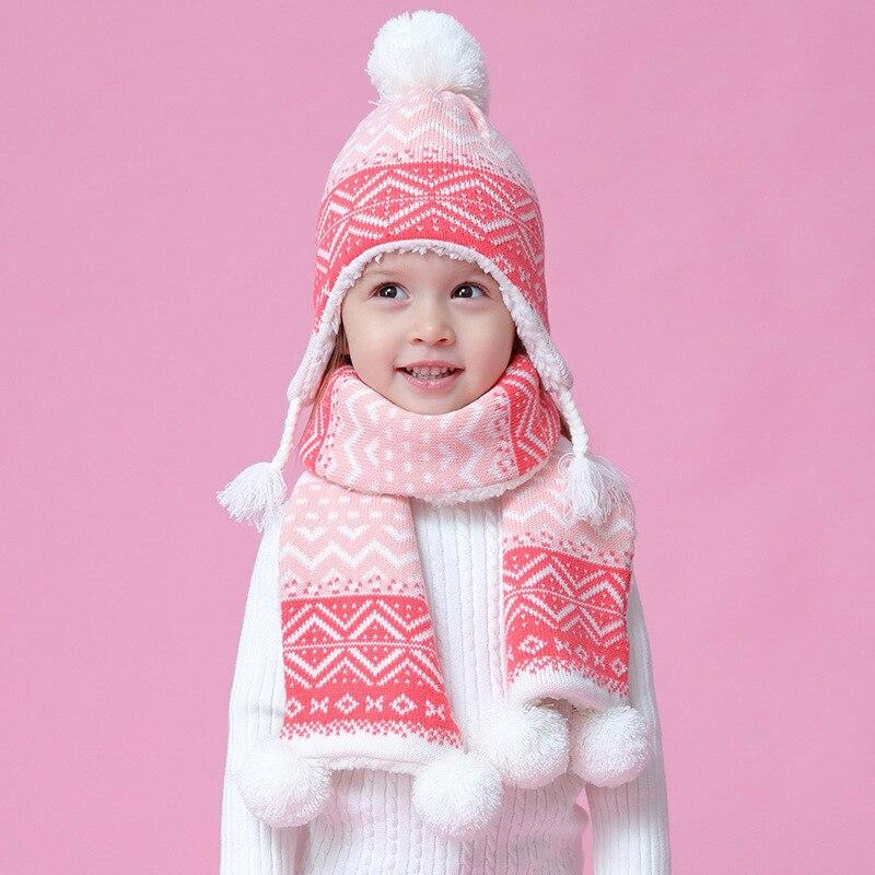 Girl Hat Scarf Set Winter Fleece Autumn Knit Beanie Warm Pompon Acrylic Outdoor Skiing Toddler Kid Accessory