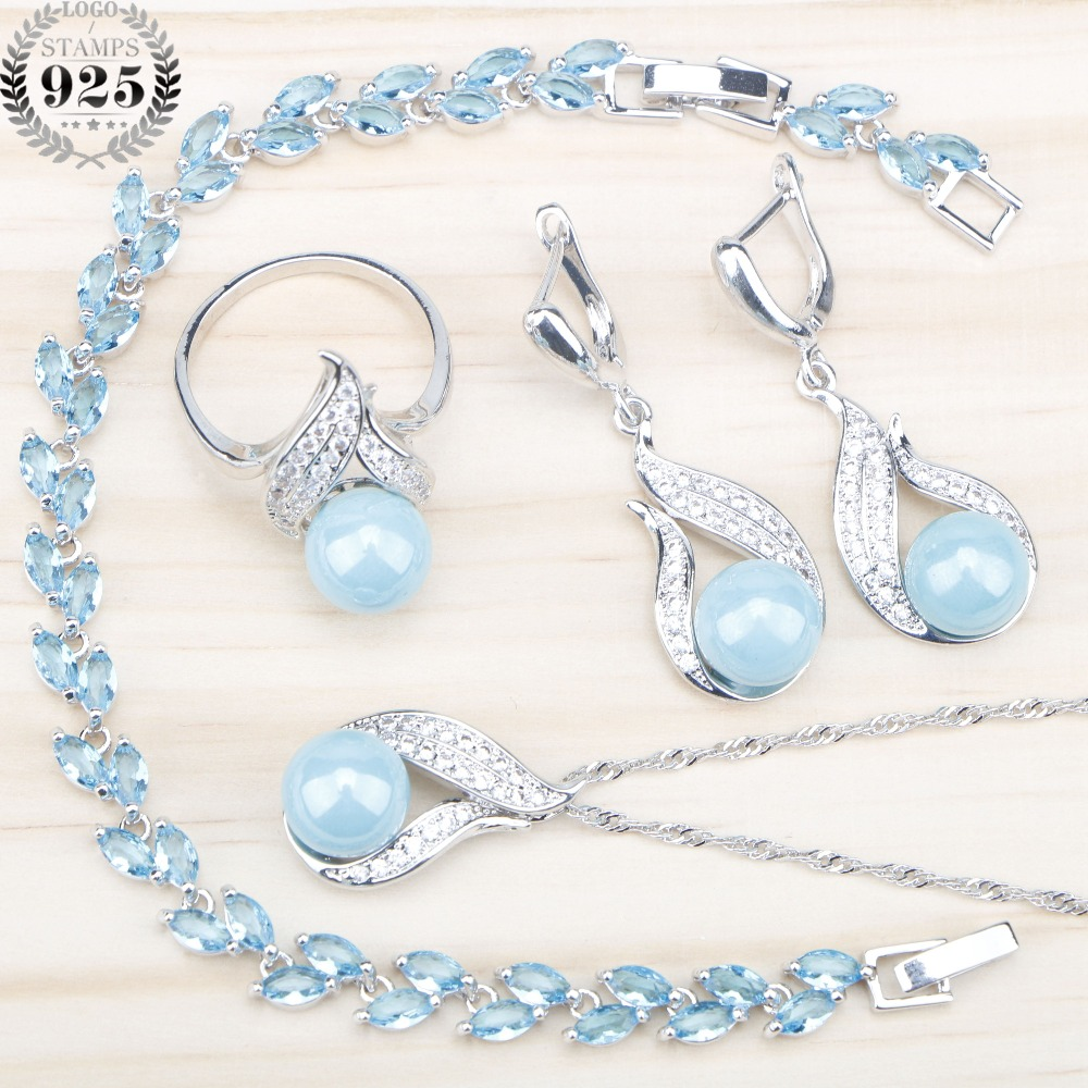 Blue Freshwater Natural 925 Silver Pearl Jewelry Sets Women Ring Earrings With Pearls Necklace Pendant Zircon Bracelets Gift Box