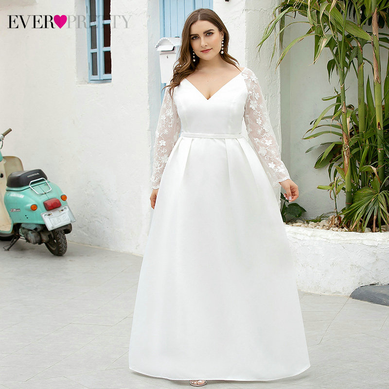 Plus Size White Wedding Dresses Ever Pretty EP00707WH A-Line V-Neck Full Lace Sleeve Satin Wedding Gowns For Bride Suknia Slubna