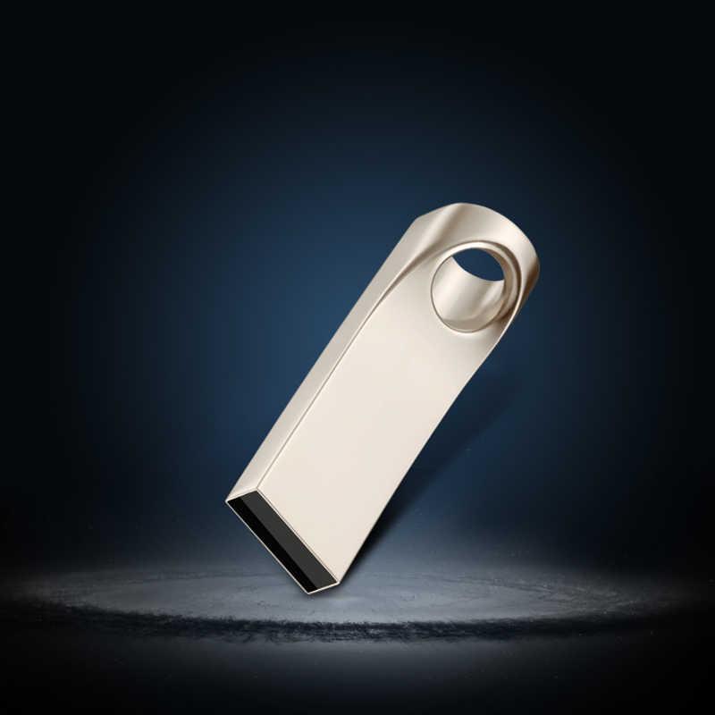 USB Flash Drive 64GB โลหะ Pendrive Memoria USB Stick 64GB 32GB ไดรฟ์ปากกา USB แฟลชการ์ด 16GB 8GB Silver