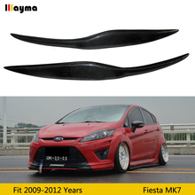 цена на Car Front Headlight Cover Sticker Head Lamp Eyebrow Eyelid Covers For Ford Fiesta facelift MK7 2009-2012 year carbon eyebrows