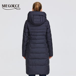 Image 4 - MIEGOFCE 2019 New Winter Womens Collection of Coat Knee Length Windproof Womens Jacket With Stand Up Collar and Hood Parka