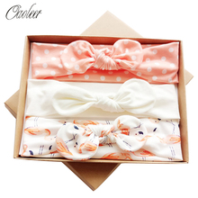 Oaoleer  Hair Accessories 3 Pcs/Set Cotton Headbands for Baby Girls Handmade Stretchy Bow Headband Children Birthday Gift